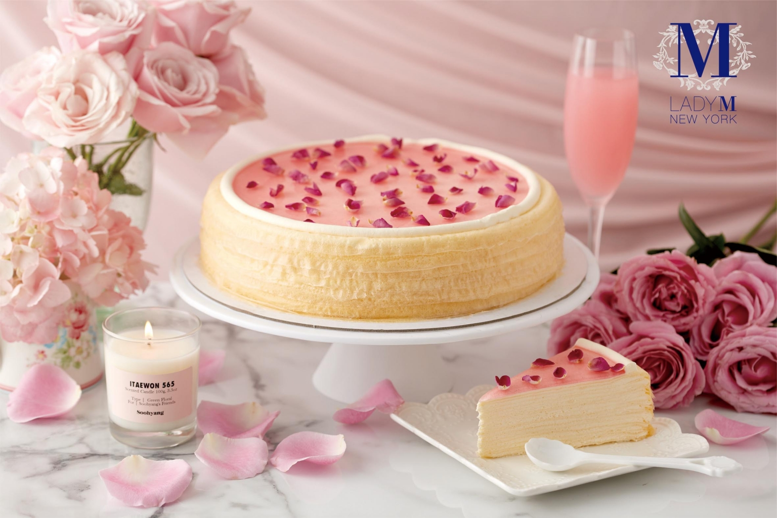 【復興館】獨家口味lady M快閃櫃 母親節獨家限定6吋玫瑰千層蛋糕 售價1,800元 單片280元