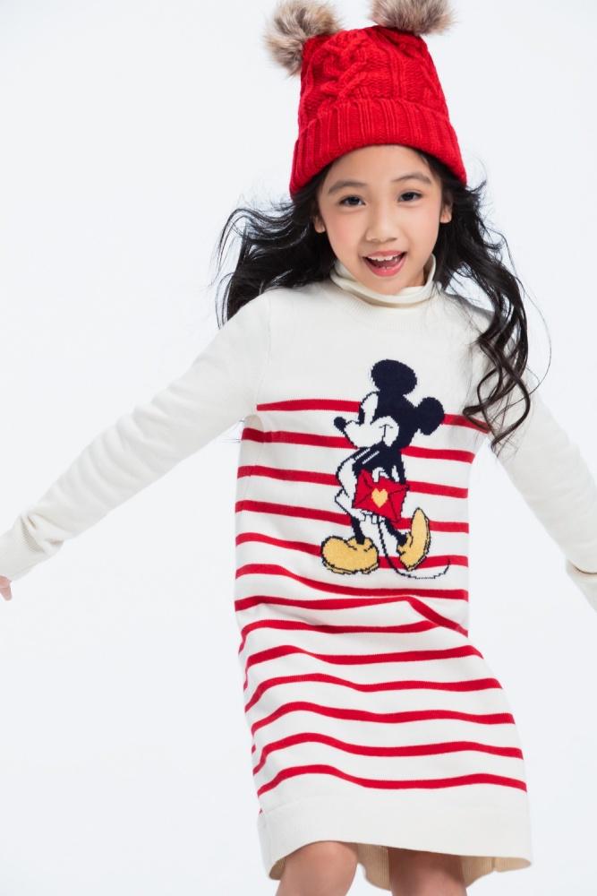 女童雪白針織長版連衣裙