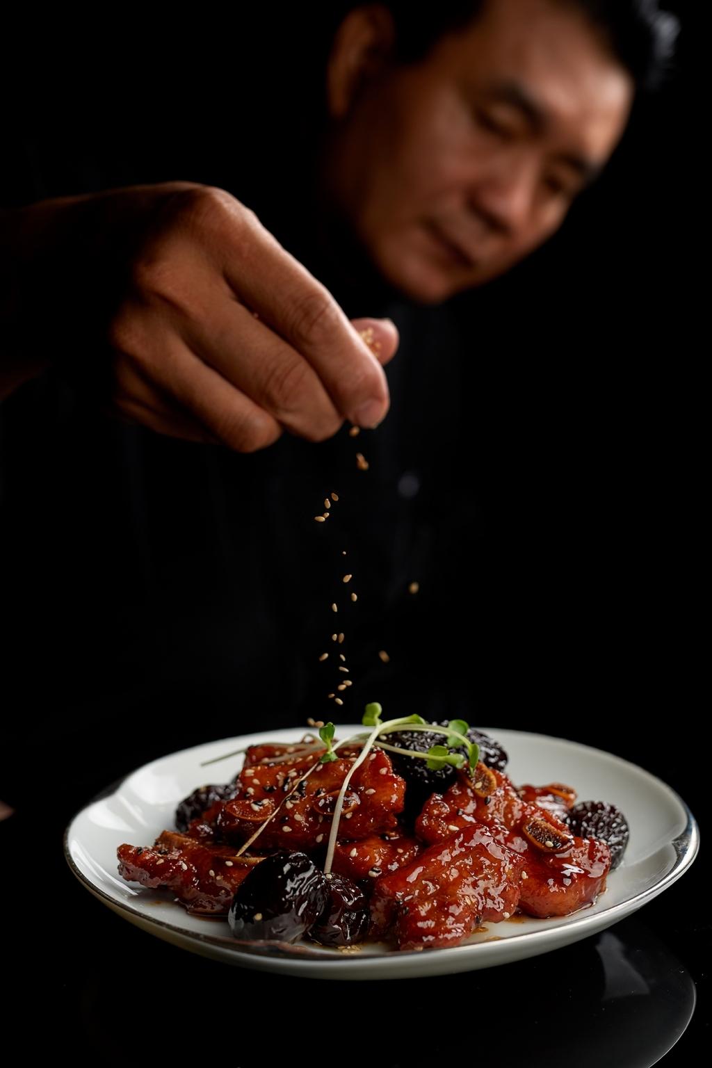 美福漢來四手聯彈 米香單點菜色 黑棗蜜汁豬肋排