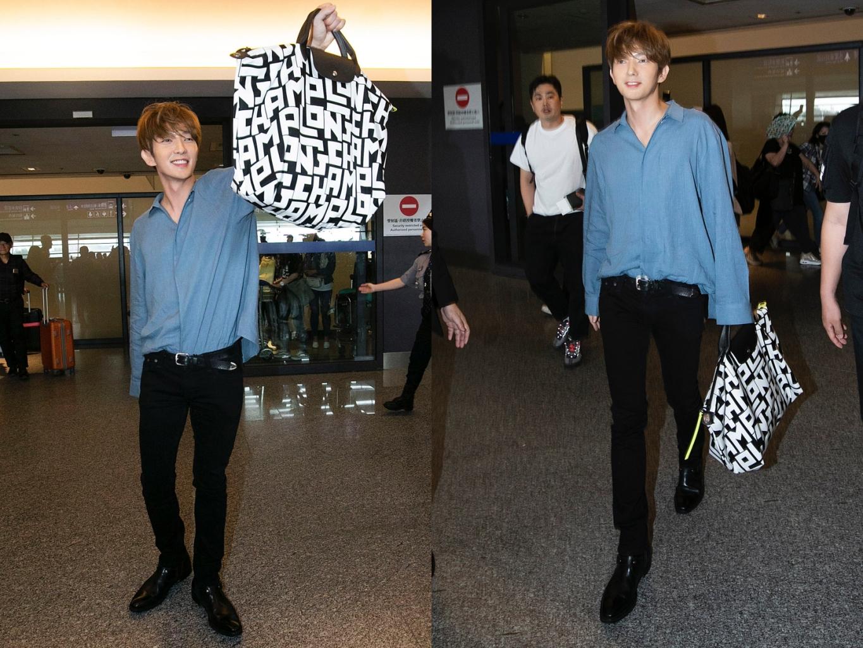 韓流巨星李準基抵達接機大廳,甫現身隨即俏皮高舉