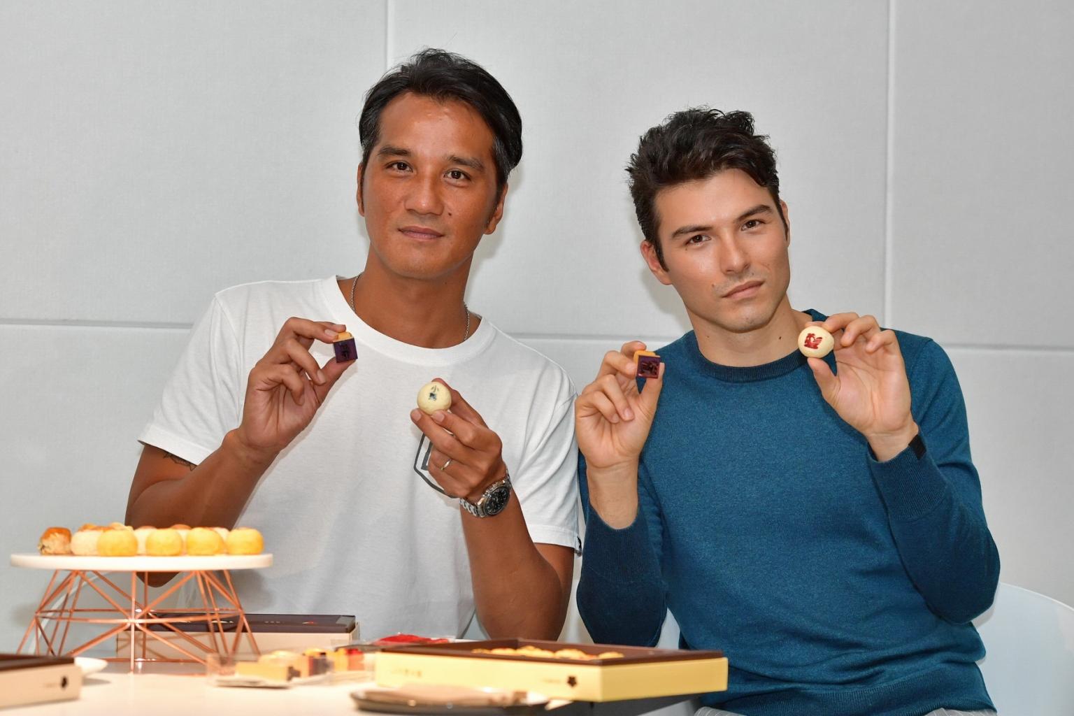 馬志翔與鳳小岳兩位好麻吉首度以導演與演員身分合作拍攝郭元益品牌形象影片,兩人拍片默契十足,今首映現場,兩人也一起體驗做月餅