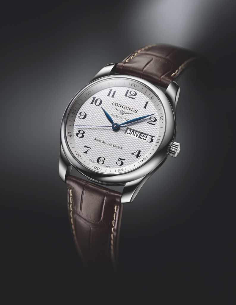 Longines浪琴表master巨擘系列年曆銀色面盤腕錶